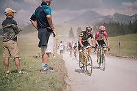 Taylor Phinney (USA/Education First-Drapac) &amp; Damien Gaudin (FRA/Direct Energie) over the gravel roads up the Mont&eacute;e du plateau des Gli&egrave;res (HC/1390m)<br /> <br /> Stage 10: Annecy &gt; Le Grand-Bornand (159km)<br /> <br /> 105th Tour de France 2018<br /> &copy;kramon
