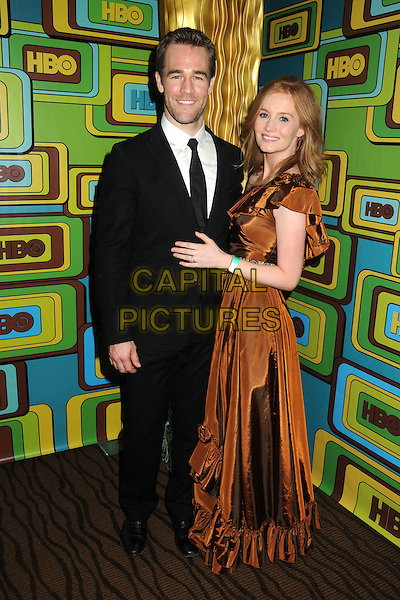 JAMES VAN DER BEEK & KIMBERLY BROOK.HBO 2011 Post Golden Globe Awards Party held at The Beverly Hilton Hotel, Beverly Hills, California, USA..January 16th, 2011.full length black suit brown bronze gold dress side married husband wife .CAP/ADM/BP.©Byron Purvis/AdMedia/Capital Pictures.
