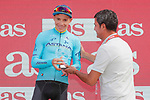 Miguel Angel Lopez Moreno (COL) Astana Pro Team on the podium at the end of at the end of Stage 11 of the La Vuelta 2018, running 207.8km from Mombuey to Ribeira Sacra. Luintra, Spain. 5th September 2018.<br /> Picture: Unipublic/Photogomezsport | Cyclefile<br /> <br /> <br /> All photos usage must carry mandatory copyright credit (&copy; Cyclefile | Unipublic/Photogomezsport)