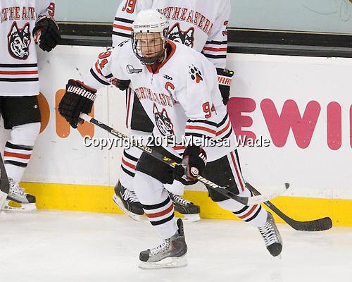 Tyler McNeely (Northeastern - 94) - The Northeastern University Huskies defeated the Harvard University Crimson 4-0 in their Beanpot opener on Monday, February 7, 2011, at TD Garden in Boston, Massachusetts.
