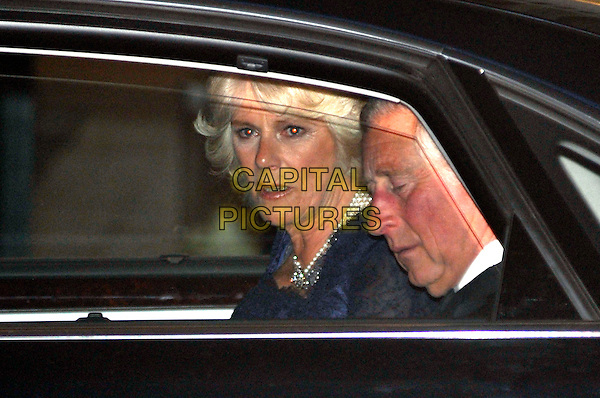 PRINCE CHARLES DUKE OF CORNWALL, CAMILLA DUCHESS OF CORNWALL.Gala pre-wedding dinner held at the Mandarin Oriental Hyde Park, London, England. 28th April 2011 in London, England..royal royalty kate catherine middleton prince william headshot portrait car profile. CAP/PL.©Phil Loftus/Capital Pictures..