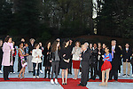 Tamara Tunie, Rhonda Ross, her son Rai, Donald Trump, Lundgrens, skaters, Scott Hamilton at the 2012 Skating with the Stars - a benefit gala for Figure Skating in Harlem celebrating 15 years on April 2, 2012 at Central Park's Wollman Rink, New York City, New York.  (Photo by Sue Coflin/Max Photos)
