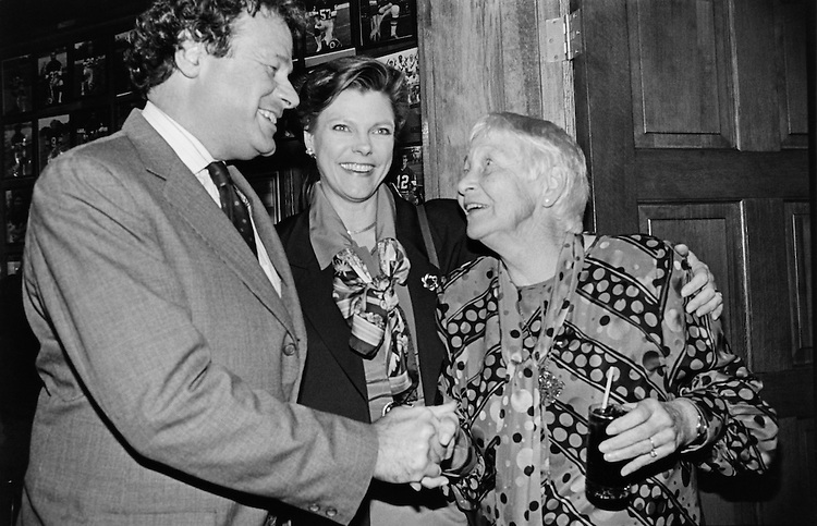 Corrine Conte, wife of Rep. Silvio Ottavio Conte, greets Mary Martha Corinne Morrison Claiborne Roberts and Steven V. Roberts at the first annual Silvio Conte Scholarship dinner. Tickets were priced at $150. November 11, 1993 (Photo by Maureen Keating/CQ Roll Call)