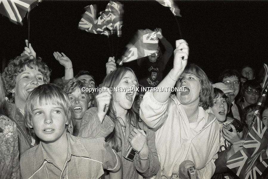 London, UK, JUNE 21,1982:  BIRTH OF PRINCE WILLIAM (Wiiliam Arthur Louis Mountbatten-Windsor)<br /> Cheering crowds outside Lindo Wing, St Mary's Hospital soon after the announcement of the birth of their first child of Prince Charles annd Princess Diana, son Prince William _London_21st June, 1982<br /> Mandatory credit photo: &copy;FRANCIS DIAS/NEWSPIX INTERNATIONAL<br /> <br /> (Failure to credit will incur a surcharge of 100% of reproduction fees)<br /> Immediate notification of usage required.<br /> <br /> **ALL FEES PAYABLE TO: &quot;NEWSPIX INTERNATIONAL&quot;**<br /> <br /> Newspix International, 31 Chinnery Hill, Bishop's Stortford, ENGLAND CM23 3PS<br /> Tel:+441279 324672<br /> Fax: +441279656877<br /> Mobile:  07775681153<br /> e-mail: info@newspixinternational.co.uk