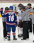 Jeff Bunyon, Riley Wetmore (UML - 16), Pat Mullane (BC - 11), Chris Aughe, Tim Benedetto - The University of Massachusetts Lowell River Hawks defeated the Boston College Eagles 4-2 (EN) on Tuesday, February 26, 2013, at Kelley Rink in Conte Forum in Chestnut Hill, Massachusetts.