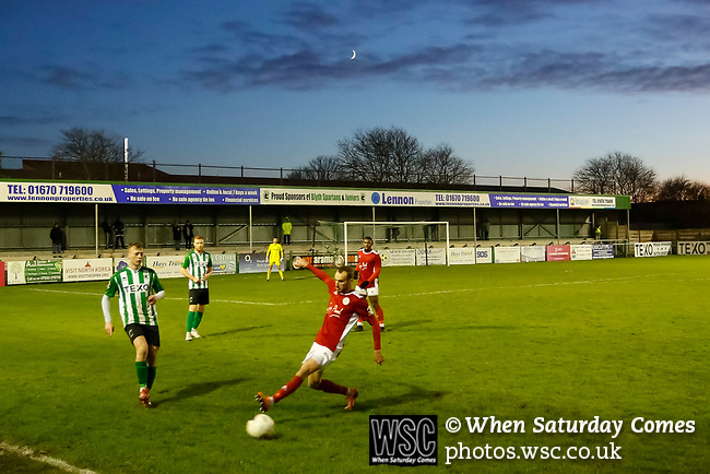 The crescent Moon above Croft Park. Blyth Spartans v Brackley Town, 30112019. Croft Park, National League North. Photo by Paul Thompson.