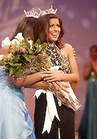 12 July, 2008:    Miss Tahoma Janet Harding (right) can barely stand as she hears she beat out Miss Tri-City Kriston Cox for the title of 2008 Miss Washington at the Pantages Theater in Tacoma , Washington. 2007 winner Elyse Umemoto congratulates her (left).