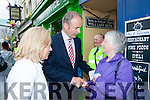 Fianna Fail candidate Norma Moriarty and her party leader Micheal Martin met Margaret Sweeney Beaufort from Sean Chairde on walkabout in Killarney on Friday