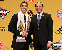 Zarek Valentin of the University of Akron with commissioner Don Garber at the 2011 MLS Superdraft, in Baltimore, Maryland on January 13, 2010.