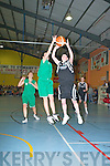 Muiriosa Galwey St Pauls is blocked by Michelle Fahy Blue Flu during their clash in the Senior Ladies Final at the St Mary's Basketball Flitz final in Castleisland on Friday night