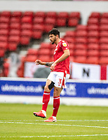 7th July 2020; City Ground, Nottinghamshire, Midlands, England; English Championship Football, Nottingham Forest versus Fulham; Tobias Figueiredo of Notts Forest plays the ball through midfield
