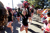 The Stanford cheer squad performs before Saturday, November 23, 2013, Big Game at Stanford University.