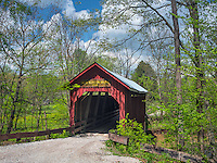 Brown County, Indiana:<br /> Bean Blossom covered bridge (1880) in early spring