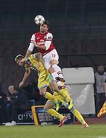 Olivier Giroud   durante l'incontro di calcio di Champions Leahue  Napoli Arsenal allo  Stadio San Paolo  di Napoli , 13 Dicembre  2013<br /> Foto Ciro De Luca