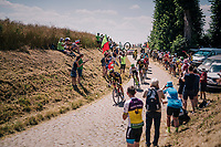 breakaway group hitting pav&eacute; sector #14<br /> <br /> Stage 9: Arras Citadelle &gt; Roubaix (154km)<br /> <br /> 105th Tour de France 2018<br /> &copy;kramon