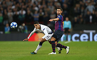 Tottenham Hotspur's Erik Lamela and Barcelona's Clement Lenglet<br /> <br /> Photographer Rob Newell/CameraSport<br /> <br /> UEFA Champions League Group B - Tottenham Hotspur v Barcelona - Wednesday 3rd October 2018 - Wembley Stadium - London<br />  <br /> World Copyright © 2018 CameraSport. All rights reserved. 43 Linden Ave. Countesthorpe. Leicester. England. LE8 5PG - Tel: +44 (0) 116 277 4147 - admin@camerasport.com - www.camerasport.com