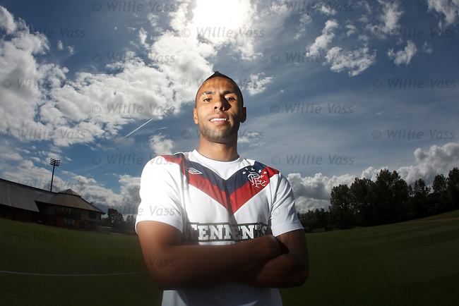 Kyle Bartley at Murray Park as the giant defender signs on again at Rangers