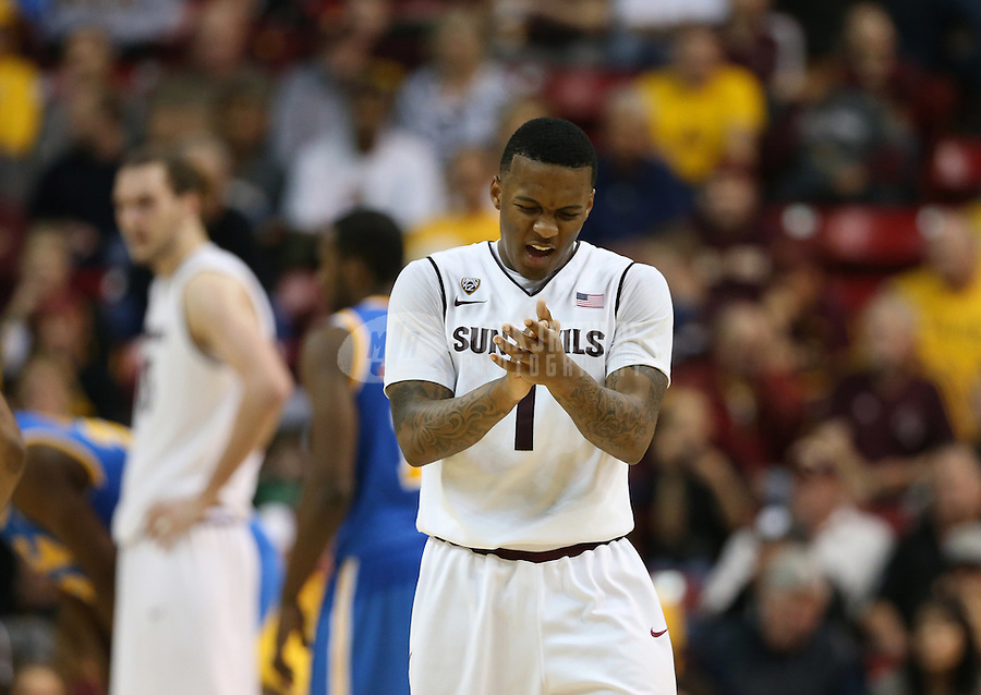 Jan. 26, 2013; Tempe, AZ, USA: Arizona State Sun Devils guard Jahii Carson (1) celebrates against the UCLA Bruins in the second half at the Wells Fargo Arena. Arizona State defeated UCLA 78-60. Mandatory Credit: Mark J. Rebilas-USA TODAY Sports