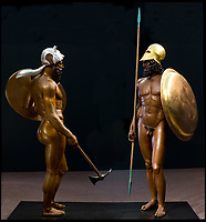 BNPS.co.uk (01202 558833)<br /> Pic: FineArtsMuseumSanFrancisco/BNPS<br /> <br /> Very bronzed - the Greek Riace warriors from 440 BC reimagined in full colour.<br /> <br /> The traditional view of the classical world full of austere white marble statue's and buildings has been transformed by a new book - that reveals the ancient world was in fact full of vibrant colours.<br /> <br /> Painstaking new research has discovered that most of the worlds most iconic art works from ancient Greece and Rome were in fact plastered with vibrant colours.<br /> <br /> However over the centuries the bright colours faded due to exposure to the elements and Renaissance maestros like Leonardo da Vinci and Michelangelo working in the 15th century believed it was the norm for sculptures to be white.<br /> <br /> Now, scientists are able to use ultra-violet photography to examine ancient pigment's and recreate how sculptures dating back to the Classical age would have looked.