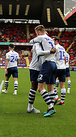 Paul Gallagher of Preston North End and Darnell Fisher of Preston North End celebrates during Charlton Athletic vs Preston North End, Sky Bet EFL Championship Football at The Valley on 3rd November 2019