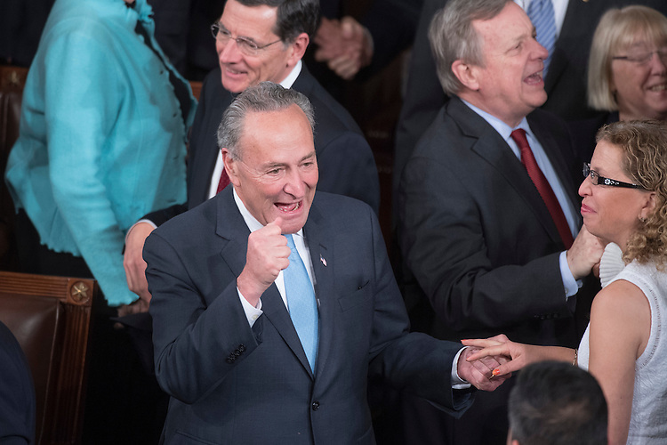 UNITED STATES - FEBRUARY 28: Senate Minority Leader Charles Schumer, D-N.Y., arrives in the House Chamber before President Donald Trump addressed a joint session of Congress in the Capitol, February 28, 2017. (Photo By Tom Williams/CQ Roll Call)