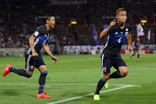 September 1, 2016, Saitama, Japan - Japan's Keisuke Hondacelebrates as he scores a goal during the Asian qualifier for FIFA World Cup Russia against UAE in Saitama, suburban Tokyo on Thursday, September 1, 2016.    (Photo by Yoshio Tsunoda/AFLO) LWX -ytd-