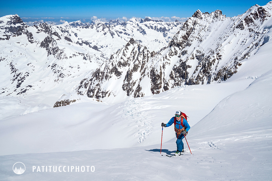 Ski touring from the Susten Pass to the Tierbergli Hut with a climb of the Gwächtenhorn while on the Berner Haute Route, Switzerland.