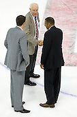 Jack Parker (BU - Head Coach) joined in the handshakes meeting Darren Lowe (Toronto - Head Coach) at center ice. - The Boston University Terriers defeated the visiting University of Toronto Varsity Blues 9-3 on Saturday, October 2, 2010, at Agganis Arena in Boston, MA.