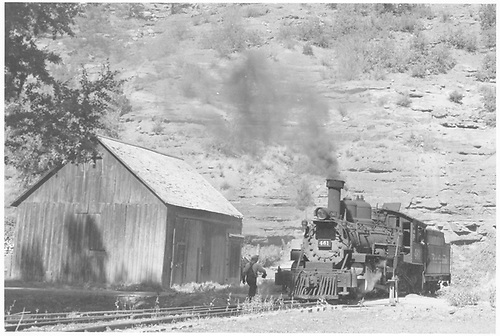 Leased D&amp;RGW #461 on the tail of the RGS Placerville wye.<br /> RGS    Taken by Richardson, Robert W. - 9/16/1946