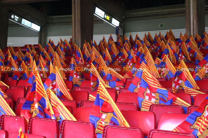 Flags await the Barcelona fans on their seats - FC Barcelona vs Manchester City - European Champions League Round of Sixteen Football at the Camp Nou Stadium on  18/03/15 - MANDATORY CREDIT: Dave Simpson/TGSPHOTO - Self billing applies where appropriate - 0845 094 6026 - contact@tgsphoto.co.uk - NO UNPAID USE