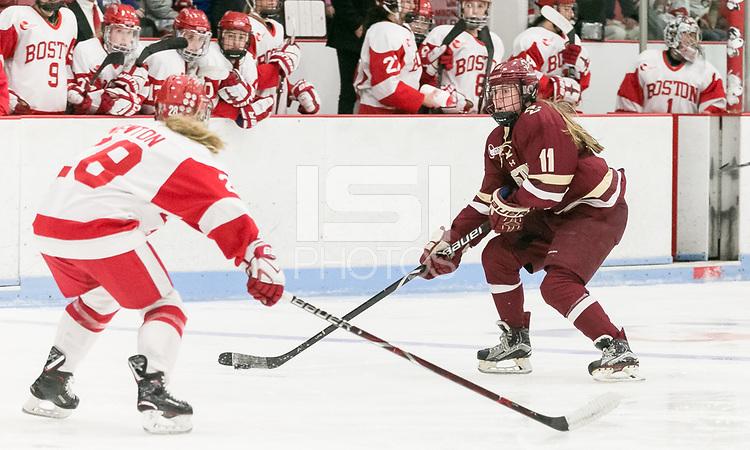Boston, Massachusetts - December 2, 2017: NCAA Division I. Boston College (maroon) defeated Boston University (white), 4-2, at Walter Brown Arena.