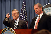 United States Secretary of Defense Donald H. Rumsfeld acknowledges a reporter during a joint press conference with Britain's Secretary of State for Defence Geoffrey Hoon in the Pentagon in Washington, DC on February 12, 2003.  Rumsfeld and Hoon met earlier to discuss the war on terror and the situation with Iraq. <br /> Mandatory Credit: Robert D. Ward / DoD via CNP