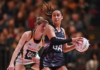 05.02.2017 Silver Ferns Maria Tutaia in action during the Silver Ferns v Proteas netball test match played at Wembley Arena  in London, England. Mandatory Photo Credit ©Joe Toth/Michael Bradley Photography