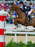 DAILY EDITION, ridden by Kendal Lehari (CAN), competes during Stadium Jumping at the Rolex 3-Day Event at the Kentucky Horse Park in Lexington, Kentucky on April 28, 2013.