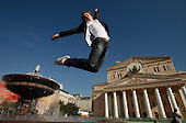 British ballet student Henry Perkins poses in front of the Bolshoi Theatre in Moscow..Perkins, 19, is graduating from the acclaimed Bolshoi this year.