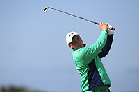 James Sugrue from Ireland on the 2nd tee during Round 1 Singles of the Men's Home Internationals 2018 at Conwy Golf Club, Conwy, Wales on Wednesday 12th September 2018.<br /> Picture: Thos Caffrey / Golffile<br /> <br /> All photo usage must carry mandatory copyright credit (&copy; Golffile | Thos Caffrey)
