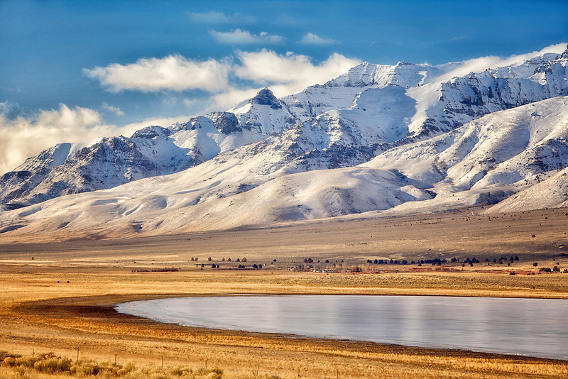 Frozen Mann Lake with Steens Mountain. Oregon