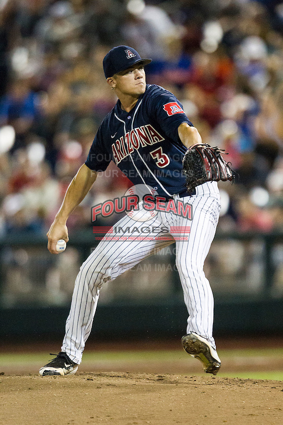 Arizona Wildcats pitcher Bobby Dalbec (3) delivers a pitch to the plate against the Oklahoma State Cowboys in Game 6 of the NCAA College World Series on June 20, 2016 at TD Ameritrade Park in Omaha, Nebraska. Oklahoma State defeated Arizona 1-0. (Andrew Woolley/Four Seam Images)