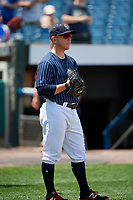Syracuse Chiefs catcher Jake Lowery (24) before a game against the Scranton/Wilkes-Barre RailRiders on June 17, 2018 at NBT Bank Stadium in Syracuse, New York.  Syracuse defeated Scranton/Wilkes-Barre 4-2.  (Mike Janes/Four Seam Images)