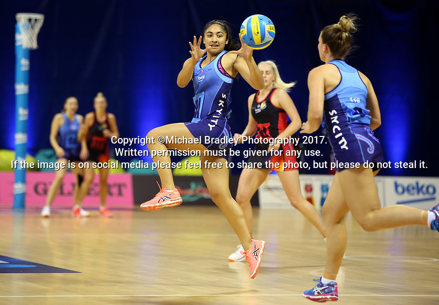 14.04.2017 Action during the Beko Netball League match between the Northern and WBOP played at the Trusts Arena in Auckland. Mandatory Photo Credit ©Michael Bradley.