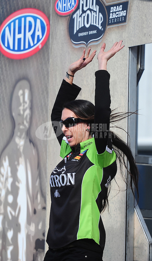 Nov. 13, 2011; Pomona, CA, USA; NHRA funny car driver Alexis DeJoria during the Auto Club Finals at Auto Club Raceway at Pomona. Mandatory Credit: Mark J. Rebilas-.