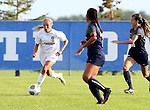 BROOKINGS, SD - August 19:  Ashley Adams #9 from South Dakota State pushes the ball against Utah State during the first half of their match at Fischback Soccer Field in Brookings. (Photo by Dave Eggen/Inertia)