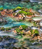 Little North Santiam River with colorful rocks and pools. Opal Creek Scenic Recreation Area, Oregon
