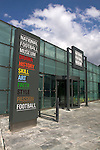 An exterior view of the entrance to the National Football Museum in Manchester before the official opening to the public. The new museum, based in the futuristic Urbis building in the city centre of Manchester was set to open to the public on 6th July 2012. The National Football Museum, which was previously located in Preston, Lancashire, was expected to attract around 350,000 visitors each year.