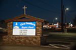 Sign broken, come inside for message. First Southern Baptist Church, Fallon, Nev.