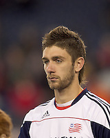 New England Revolution midfielder Stephen McCarthy (26). In a Major League Soccer (MLS) match, the New England Revolution tied the Portland Timbers, 1-1, at Gillette Stadium on April 2, 2011.