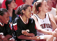 Yvonne Gbalazeh and Cori Enghusen during the 1999-2000 women's basketball season at Maples Pavilion in Stanford, CA.