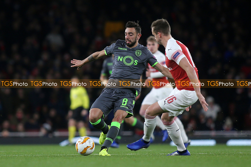 Bruno Fernandes of Sporting Lisbon in action during Arsenal vs Sporting Lisbon, UEFA Europa League Football at the Emirates Stadium on 8th November 2018