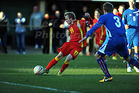 Stebonheath Park,Llanelli, Dyfed,Wales. Wednesday 6th Feb 2013. Wales v Iceland U21 International football friendly. Jonathan Williams of Wales and Crystal Palace shoots for goal and scores his sides 2nd goal during the Wales v Iceland U21 International football friendly match. Mandatory credit Jeff Thomas Photography-07837 386244-www.jaypics.co.uk