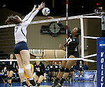 SIOUX FALLS, SD - DECEMBER 8:  Diva Rivas #17 from American International tries to get the ball past Emma Lange #7 from Concordia St. Paul during their quarterfinal match at the Women's DII Volleyball Championships at the Sanford Pentagon in Sioux Falls, SD. (Photo by Dave Eggen/Inertia)